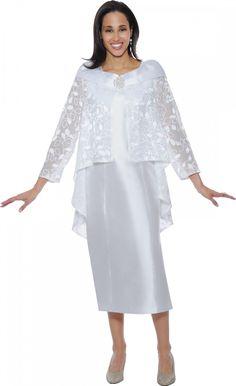 Elegant White Church Dress By Nubiano DN5332 - Divine Church Suits