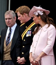 The Duke of York, Prince Harry and Catherine Duchess of Cambridge, aka Kate Middleton, attending the 2013 Trooping the Colour Ceremony. She is wearing a bespoke powder pink coat dress by Alexander McQueen, hat by Jane Corbett, LK Bennet Sledge pumps, she carried her gray McQueen clutch and wore Annoushka pearl earrings. 6/15/13