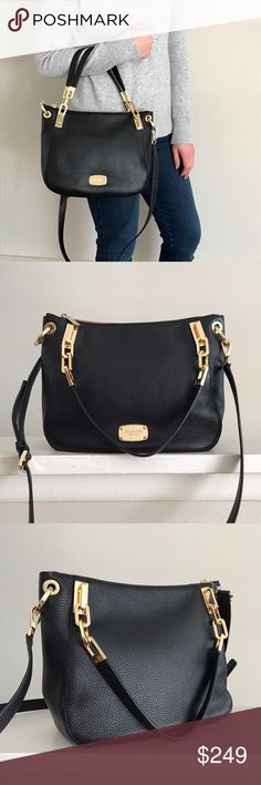 """LOWEST PRICE! MICHAEL KORS Brooke leather bag Help me clean out my closet! Must go! Amazing MK Brooke Shoulder Tote in black leather with beautiful gold hardware. NWT and absolutely gorgeous. Convertible with crossbody strap. No dust bag included. Measurements: 12"""" wide, 9.5"""" tall, 4"""" deep. 7"""" handle, 21"""" strap drop adjustable. MICHAEL Michael Kors Bags Crossbody Bags"""