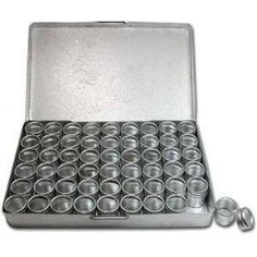 Aluminum Boxes These wonderful aluminum seed bead compacts are for the seed beader on the run. Small enough to take with you where ever you go. Each individual container, contained within the compact,