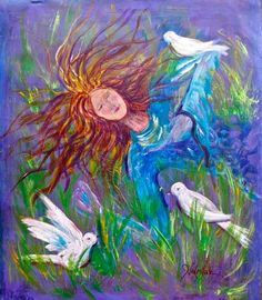 Rest In The Lord~ Wow! Beautiful meaningful Prophetic Art! Woman resting in fields of green grass.