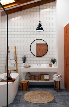 Perfect room! Tellement jolie salle de bain, blanc - gris - #wood #bathroom
