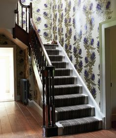 """""""Looking to take a stairwell to new decorative heights? Choose a floral pattern that is pretty, colorful, and that you won't tire of too quickly."""" wish I had a stairwell."""
