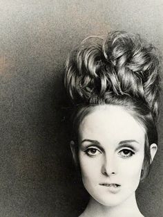 60's Vintage hair updo, modeled by Grace Coddington.