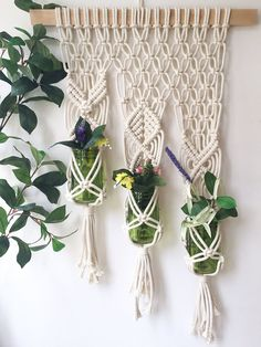 Triple Macrame Plant Hanger - Macrame Plant Holder - Wall Planter - Hanging Planter - Macrame Plant Hanging - Planter - Wall Hanging by amyzwikelstudio on Etsy
