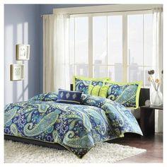 JLA Home Maya Paisley Duvet Cover Set - Blue