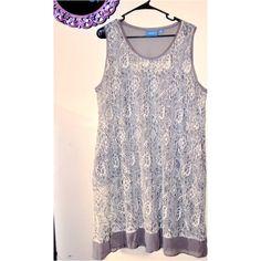 Lace Vera Wang Dress XL  White lace with grey trim and grey slip. Worn once. SimplyVera Vera Wang knee length dress. No trades. No PayPal. Vera Wang Dresses Midi