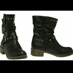 """MID SIZED JACOBIES BLACK BOOTS These combat boots are to die for  Studded boots Faux leather  Ruching at the rounded toe  Decorative buckle around the ankle and shafts  Gold tone studs at the buckle and shafts  Zipper closures at the Inseam with ruching  Heel 1 1/2 """"❤✌ JACOBIES  Shoes Heeled Boots"""