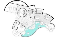 Hasil gambar untuk elevation plan of curvy house Environmental Architecture, Organic Architecture, Concept Architecture, Architecture Design, Hotel Floor Plan, House Floor Plans, Curve Building, Architectural Floor Plans, Elevation Plan