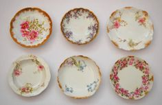 Antique Limoges China Butter Pats, circa 1890 - 1910.  Butter pats, which measure 2 1/2 to 3 1/2 inches in diameter, were used at each place setting to hold an individual serving of butter.