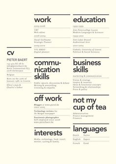 preciosos diseños de currículums que querrás robarte Creative layout for CV. Although the idea of 'not my cup of tea' seems utterly…Creative layout for CV. Although the idea of 'not my cup of tea' seems utterly… Resume Layout, Resume Cv, Free Resume, Basic Resume, Simple Resume, Resume Writing, Unique Resume, Teaching Resume, Resume Format