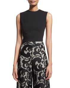 Alice + Olivia Flynn Ponte Back-Zip Top & Benita Seta A-Line Skirt