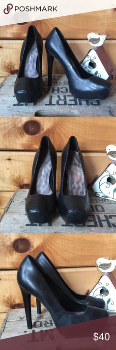 "Jessica Simpson leather Landy heels Soft black leather ""Landy"" heels in excellent used condition. Jessica Simpson Shoes Heels"