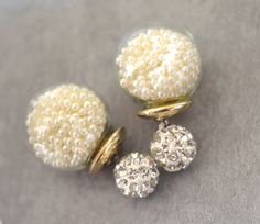 Beautiful Faux Pearl Glass Orb Rhinestone by BridesBridesmaids