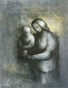 Henry Moore:  Mother and Child I  (1983, etching and aquatint)