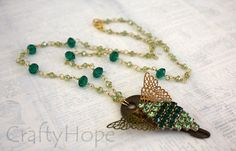 Green Winged Key Necklace by CraftyHope on Etsy