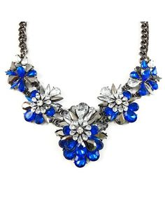 Apolonia Sapphire Marquise Crystal Cluster Statement Necklace