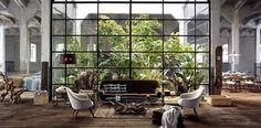 Loft Interiors from Zara Home Loft Living + Green House. Patio Interior, Interior Exterior, Exterior Design, Interior Architecture, Cultural Architecture, Apartment Interior, Room Interior, Interior Ideas, Futuristic Architecture