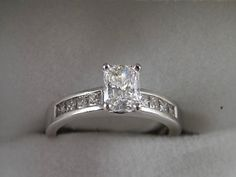 1.40 Ct Diamond Ring Radiant Cut 1.04Ct by estatejewelryshop, $3200.00