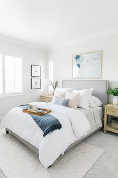 Guest bedroom reveal designed by Laura Design & Co using light color palette. Room Ideas Bedroom, Dream Bedroom, Home Decor Bedroom, Master Bedroom, Bedroom Beach, Bedroom Inspo, Guest Bedrooms, Guest Bedroom Colors, My New Room