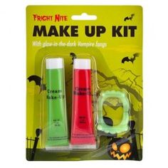 This spooky make-up kit contains 1 tube green cream make-up, 1 tube red cream make-up and a pair of glow in the dark fangs. For application instructions see packaging.