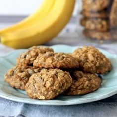 Banana Oatmeal Chocolate Chip Cookies - a delicious cookie made sans butter for a healthier treat.