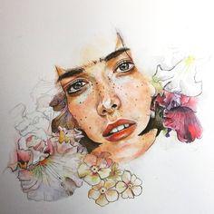#acuarela#flor#ErikoFukuda#retrato