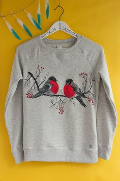 Amazing hand painted women sweatshirt with bullfinches is a ideal unique cloth for a winter and cold days - it will warm you up and be the