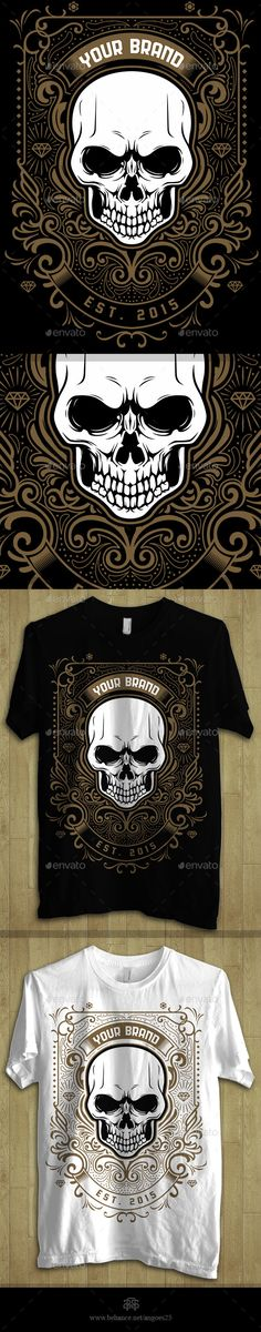 Skull & ornament theme Tshirt Design illustration Template  - Download: http://graphicriver.net/item/skull-ornament-theme-tshirt-design/11025333?ref=ksioks