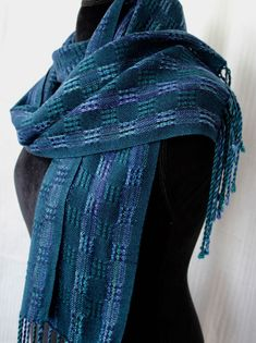 Handwoven Scarf Hand Woven Dark Teal Green Navy Purple Tencel Gem Tones Womens Fashion Long Fringe Atwater Bronson Lace by WovenTogetherCrafts on Etsy