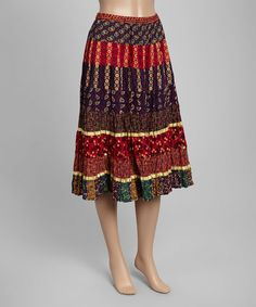 Another great find on #zulily! Red & Purple Patchwork Pleated Midi Skirt #zulilyfinds