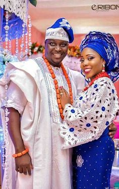 Blue and white Nigerian traditional wedding African Wedding Attire, African Attire, African Wear, African Dress, African Fashion, Ethnic Fashion, Nigerian Outfits, Nigerian Dress, Nigerian Bride