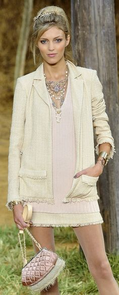Chanel.  Want to find the affordable version of this ensemble.
