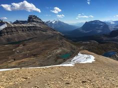 Looking back at Dolomite Peak, Katherine Lake and Helen Lake. Other hikers are approaching from along the ridge.