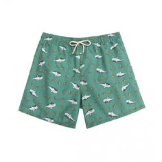 9182b33bbc Swimming trunks with a shark pattern over a green background. Ocoly swim  shorts have a vintage style with polyester material designed for quick dry.