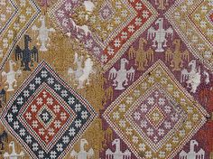 Detail from 14th c. Swiss embroidery [silk on linen]. Accession No. 2010.29. Cloisters Collection.