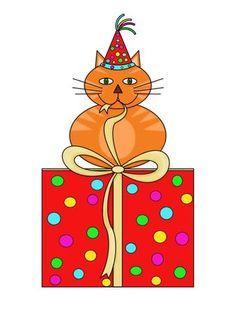 Birthday Fat Cat Sitting On Present Original Art