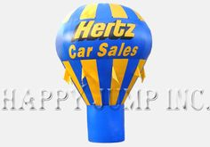 """Our cold-air advertising balloons are powered by a continuously operating electric fan.  The fan mounts at the bottom of the balloon and can be powered by 110V or 220V electricity.  They fold up and can be transported in the storage bag in the trunk of your car.  The enormous size of these advertising balloons make them real big attention getters""""""""""""Each Hot Air Balloon includes: -\tHot air shaped advertising balloon made from the finest materials -\tSewn together with ..."""