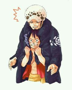 Law, Luffy, yaoi, funny, cold, jacket, shivering, text; One Piece