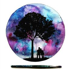 cute couple on swing under tree, galaxy sky painting in a circle