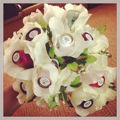 I made this nail polish bouquet for a friend of mine who got married. It makes for a great bridal shower gift.   I picked out 12 romance or bridal themed OPI Nail Polishes. It was a hit!