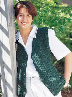 Ladies Speckled Vest - Sizes for small to extra-large are given for this stylish vest, a nice back-to-school wardrobe addition for a teen. Designed by Colleen Sullivan free pdf from FreePatterns.com