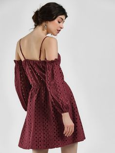18137991fc4f Ri-Dress Maroon Broderie Off-Shoulder Skater Dress 4 Skater Dress