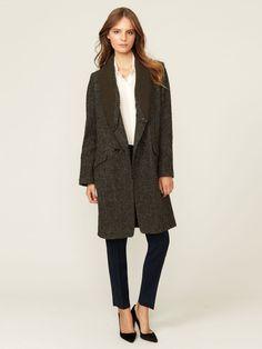 Vanessa Bruno Knit Lapel Harris Tweed Coat