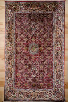 silk on silk foundation hand knotted carpet. Red and blue with a diamond center pattern, 600 knots per square inch. Red And Blue, Bohemian Rug, Carpet, India, Silk, Inspired, Rugs, Pattern, Inspiration