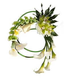 """asymmetrical """"tangled wreath"""" style bouquet with callas, bells of ireland, and cymbidium orchids"""