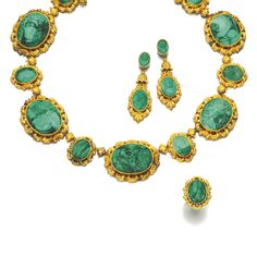 GOLD AND MALACHITE PARURE, 1830S AND LATER Comprising: a necklace, designed as a series of malachite cameos depicting classical deities and nymphs, each within repoussé frames of scroll design, links to reverse later added; a pair of pendent earrings of similar design, the cameos depicting Diana and Atlanta, and a ring depicting the profile of a woman.