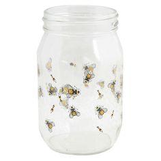 Oldham + Harper Bees Drinking Jar - Jars & Canning - Kitchen & Linens