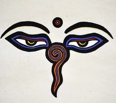 Buddhist Poster, Handmade from Lokta Paper with the Buddha Eyes Symbol