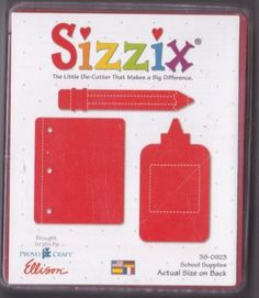 SIZZIX-ORIGINALS-SCHOOL-SUPPLIES-LARGE-RED-DIE-NEVER-USED